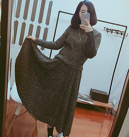 显瘦针织衫毛衣长裙套装两件套