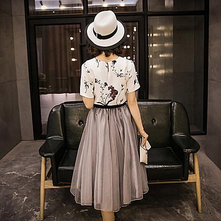 日系女装短袖印花上衣蝴蝶结半身裙两件套套装