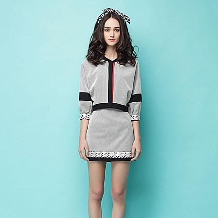 个性时尚时尚七分袖修身短外套性感包臀短裙