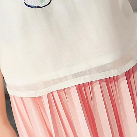 新款2017夏装韩版女装亮片花朵泡泡袖欧根纱T恤