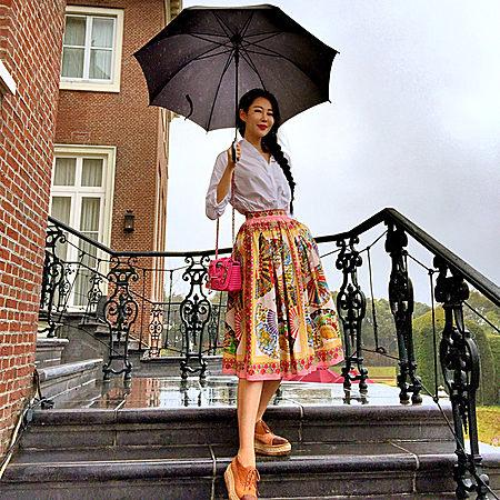 左岸潇同款复古民族风印花半身高腰裙