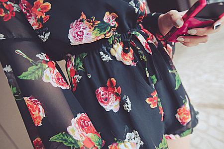 甜美V领印花公主袖收腰显瘦雪纺连体裤短裤