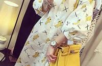 韩版香蕉图案宽松中长款衬衣女七分灯笼袖衬衫裙