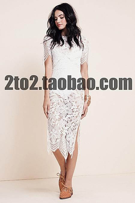 高级定制澳洲大牌设计师系列蕾丝开叉长裙 现货