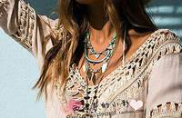 波西米亞風手工鉤花拼接V領上衣比基尼沙灘罩衫