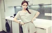 夏季韩版修身两件套显瘦露肩短袖休闲运动套装女