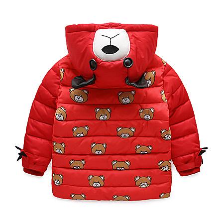满印小熊款男童棉袄童装2017新款童装冬装