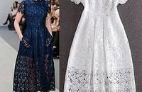 夏季欧美气质长裙裙子伴娘礼服裙镂空蕾丝显瘦