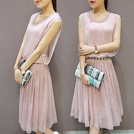 夏季新款镶钻腰带雪纺褶皱修身显瘦中长款连衣裙