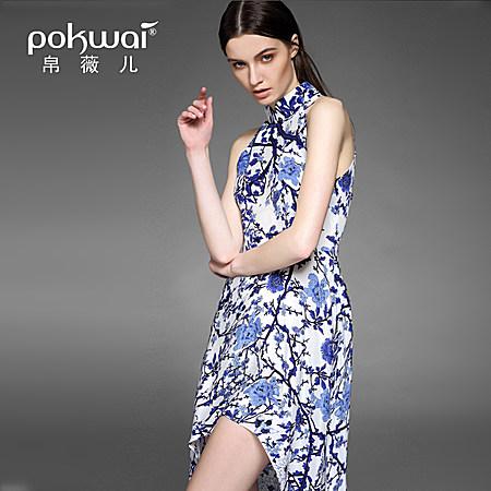 15新款欧美时尚无袖立领真丝印花连衣裙