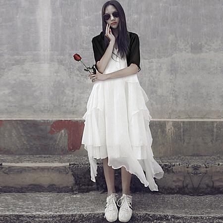 白色不规则吊带雪纺连衣裙长裙真丝沙滩裙子