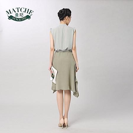 新款绿色雪纺韩系复古文艺连衣裙淑女高腰裙子