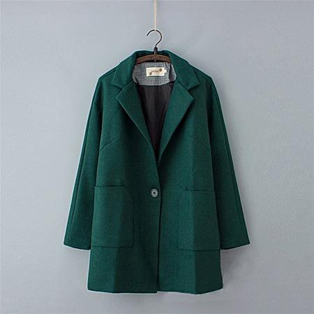 中长款羊毛呢子大衣 格子文艺复古宽松毛呢外套