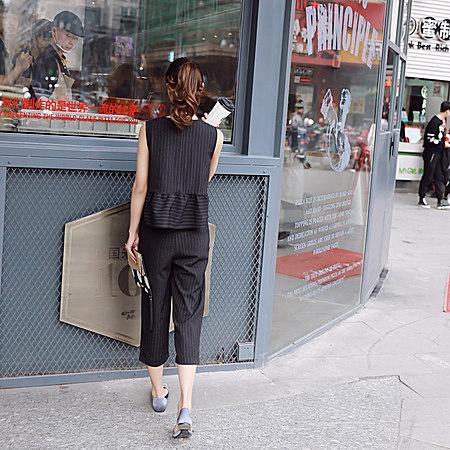 无袖条纹两件套时尚休闲套装