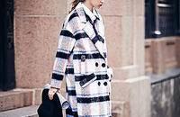 翻领宽松双排扣羊毛大衣格子中长款外套