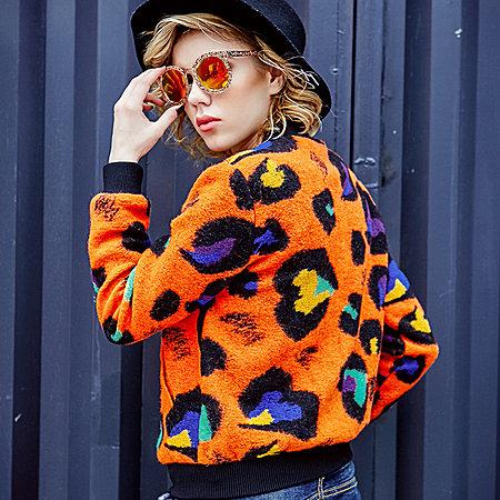时尚豹纹棒球服夹克毛呢外套