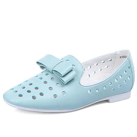 甜美蝴蝶结真皮镂空凉鞋