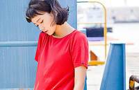 文艺纯色针织棉简约圆领宽松T恤