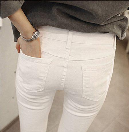 牛仔裤女白色九分裤铅笔裤女白色9分裤夏小脚裤