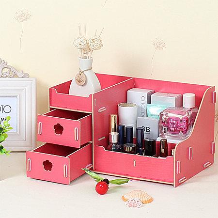 创意木质抽屉首饰盒 化妆品收纳盒 桌面储物盒