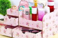 丽欧 DIY木质化妆品收纳盒韩国储物盒收纳箱