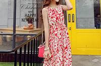 波西米亚松紧腰显瘦印花沙滩长裙连衣裙