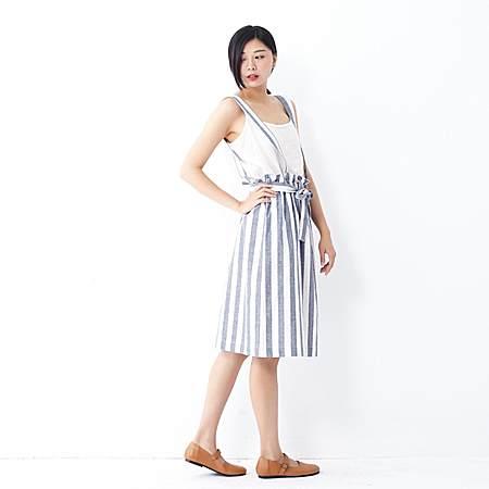 棉麻色织宽条纹背带裙