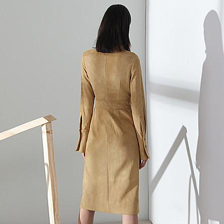 欧美时尚麂皮长袖翻领修身显瘦高腰连衣裙