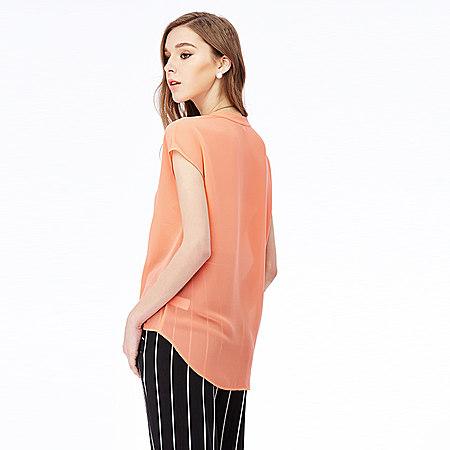 無袖不規則雪紡衫女2017春打底衫新款顯瘦上衣