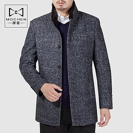 中年立领羊毛呢大衣