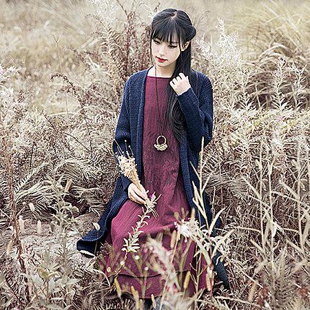 红念复古秋冬款长袖棉麻连衣裙 印花长裙子女装