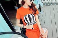 韩版甜美气质亮片热气球字母中长款圆领短袖T恤