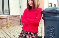 青橙0921 甜美毛衣女短款条纹短裙套装