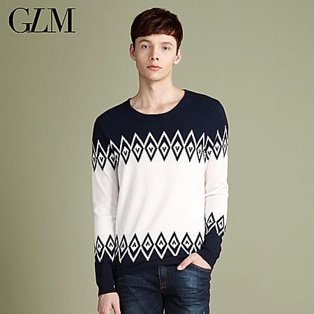韩版男士圆领套头针织衫