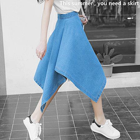 百搭韩版 牛仔裙不规则半身裙