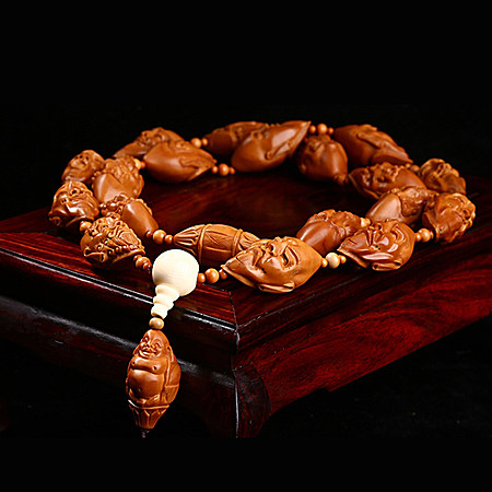 精品橄榄核雕刻长串项链文玩挂脖十八罗汉头长串
