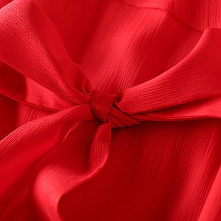 欧美圆领透视纯色修身性感中长款雪纺连衣裙夏