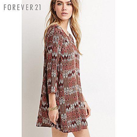 Forever21波西米亚复古部落风露背七分袖连衣裙