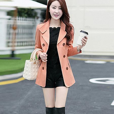 时尚韩版女装修身双排扣外套polo领简约潮流风衣