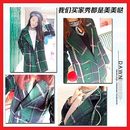 格子毛呢外套女装秋冬装韩版女士中长款呢子大衣