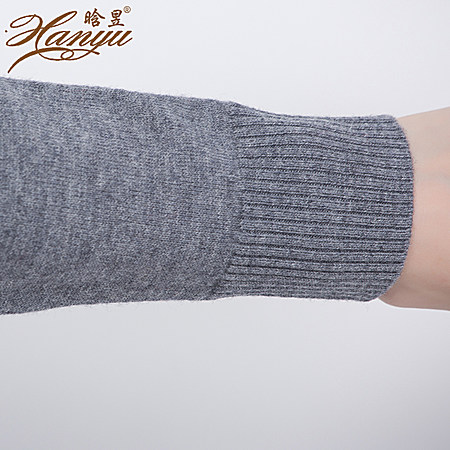 V领中长款修身针织衫100%纯羊毛