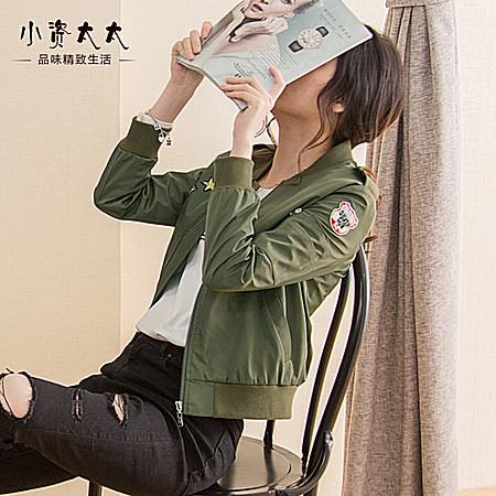 春装新款军绿色小外套 韩版女式短款棒球服