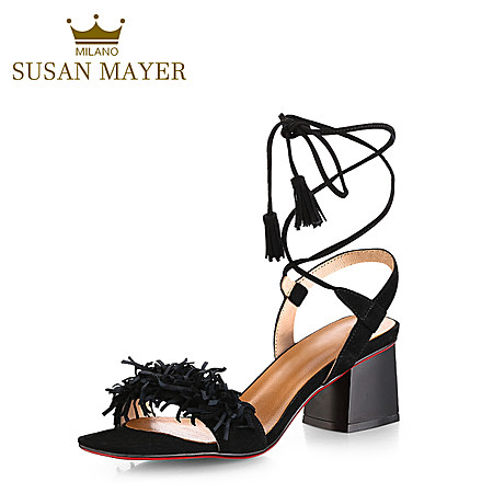 真皮欧美性感罗马高跟鞋 交叉绑带流苏中跟凉鞋