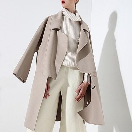 高端手工羊毛双面呢欧美宽松驼色毛呢外套