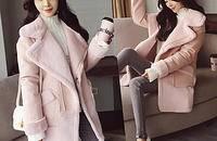 加厚拼麂皮绒中长款外套