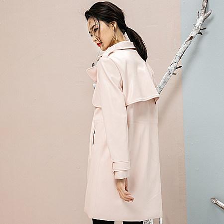 粉色PU皮风衣