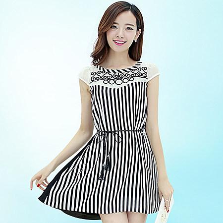 夏装新款韩版显瘦刺绣宽松大码雪纺裙夏
