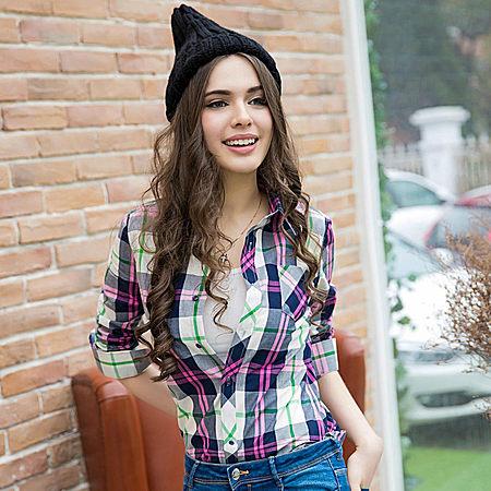 格子衬衫女长袖衬衣外套韩版宽松大码女装