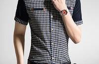 夏装短袖衬衫男夏季薄款休闲潮男士纯棉格子衬衣