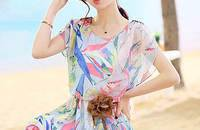 薇杉装新款波西米亚雪纺连衣裙沙滩裙短袖